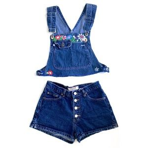 2pc Hand Embroidered Overall Denim Shorts Set